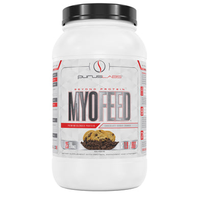 Purus Labs Myofeed Protein 2 Pounds Dietary Supplement in Chocolate Cookie Crunch from the front view