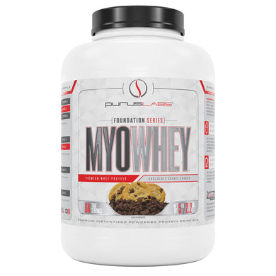 Purus Labs MyoWhey 5 Pounds Powdered Protein Drink Mix in Chocolate Cookie Crunch from the front view