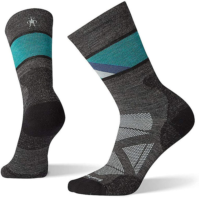 Women's Smartwool PhD Pro Approach Crew Sock in Charcoal color from the side view