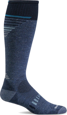 Mens Ascend II OTC Moderate Graduated Compression Sock Denim