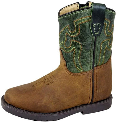 Toddler's Smoky Mountain Autry Square Toe Western Cowboy Boot in Brown Distress/Green Crackle