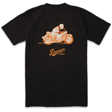 Danner Unisex Pocket 70s Motorcycle T-Shirt in Black from the side