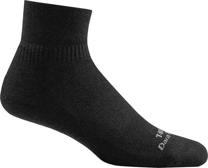 Unisex Darn Tough T4093 Tactical 1/4 Light Sock in Black from the side view