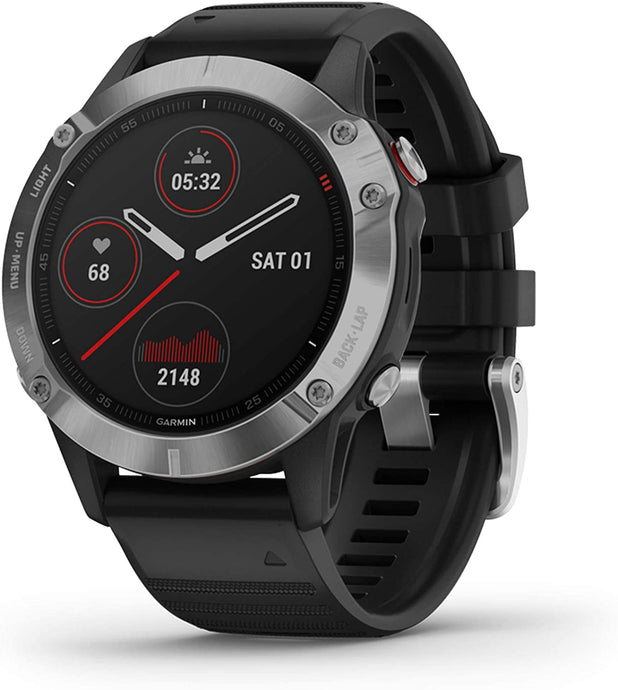 Unisex Garmin fenix 6 Multisport GPS Watch in Silver with Black Band from the front