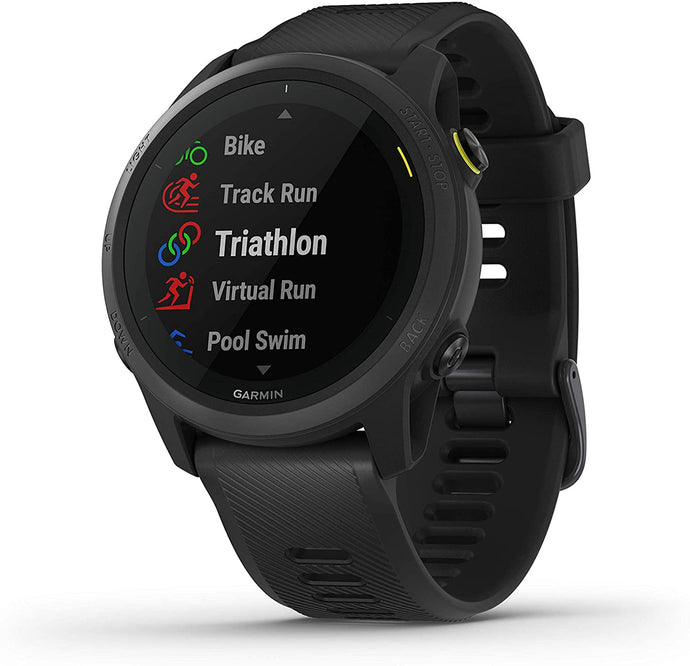 Unisex Garmin Forerunner 745 GPS Running and Triathlon Smartwatch in Black from the front