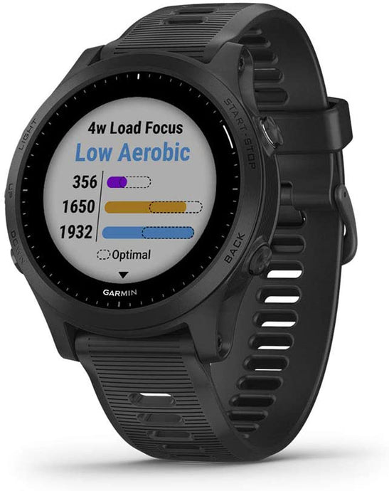Unisex Garmin Forerunner 945 GPS Running and Triathlon Smartwatch in Black Watch Only from the front