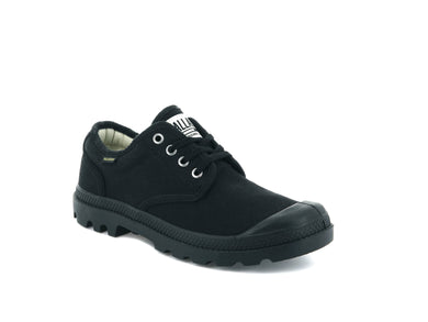 Unisex Palladium Pampa Oxford Originale Shoe in Black/Black from the front view