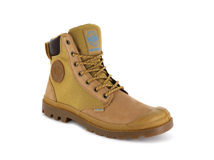 Unisex Palladium Pampa Sport Cuff WPN Rain Boot in Amber Gold/Mid Gum from the front view
