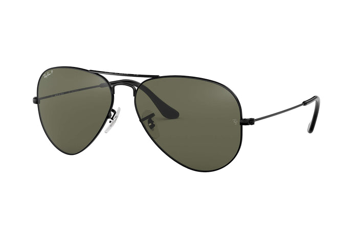 Unisex Aviator Mirror Sunglasses in Black/Polarized G-15 Green from the front view