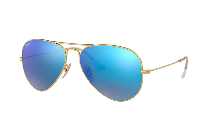 Unisex Aviator Mirror Sunglasses in Matte Arista/Grey Mirror Blue from the front view