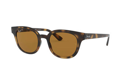 Unisex Ray-Ban RB4324 Square Sunglasses in Light Havana/Brown from the front view