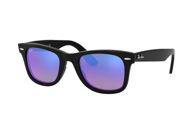 Unisex Ray-Ban Wayfarer Ease Square Sunglasses in Black/Blue Flash Gradient from the front view
