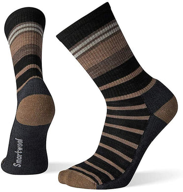 Unisex Smartwool Hike Light Striped Crew in Black