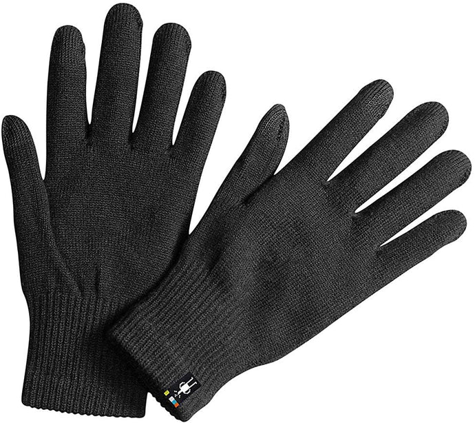 Unisex Smartwool Liner Glove in Black from the front
