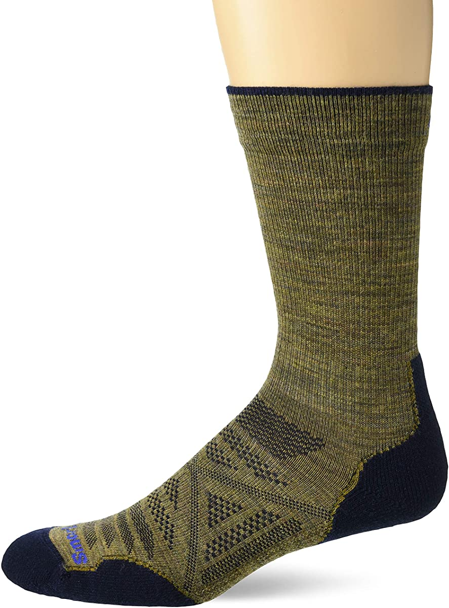 Unisex Smartwool PhD Outdoor Light Hiking Crew Socks in Desert Sand from the front view