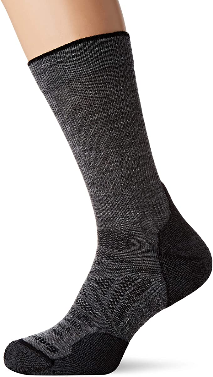 Unisex Smartwool PhD Outdoor Light Hiking Crew Socks in Medium Gray from the front view