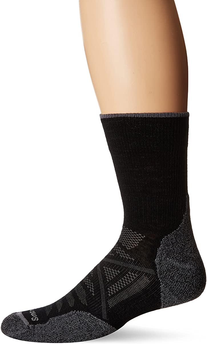 Unisex Smartwool PhD Outdoor Light Mid Crew Hiking Socks in Alpine Blue from the front view