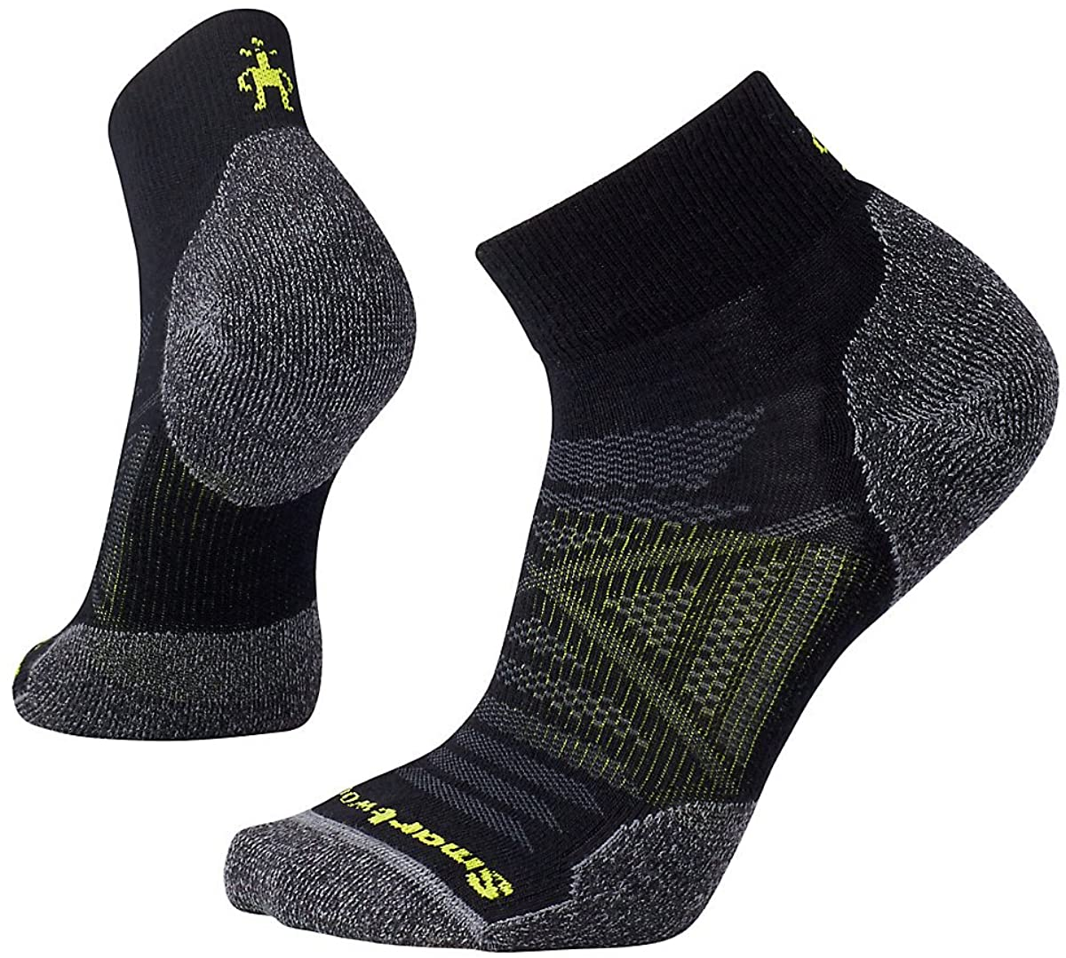 Unisex Smartwool PhD Outdoor Light Mini Hiking Socks in Medium Gray from the front view