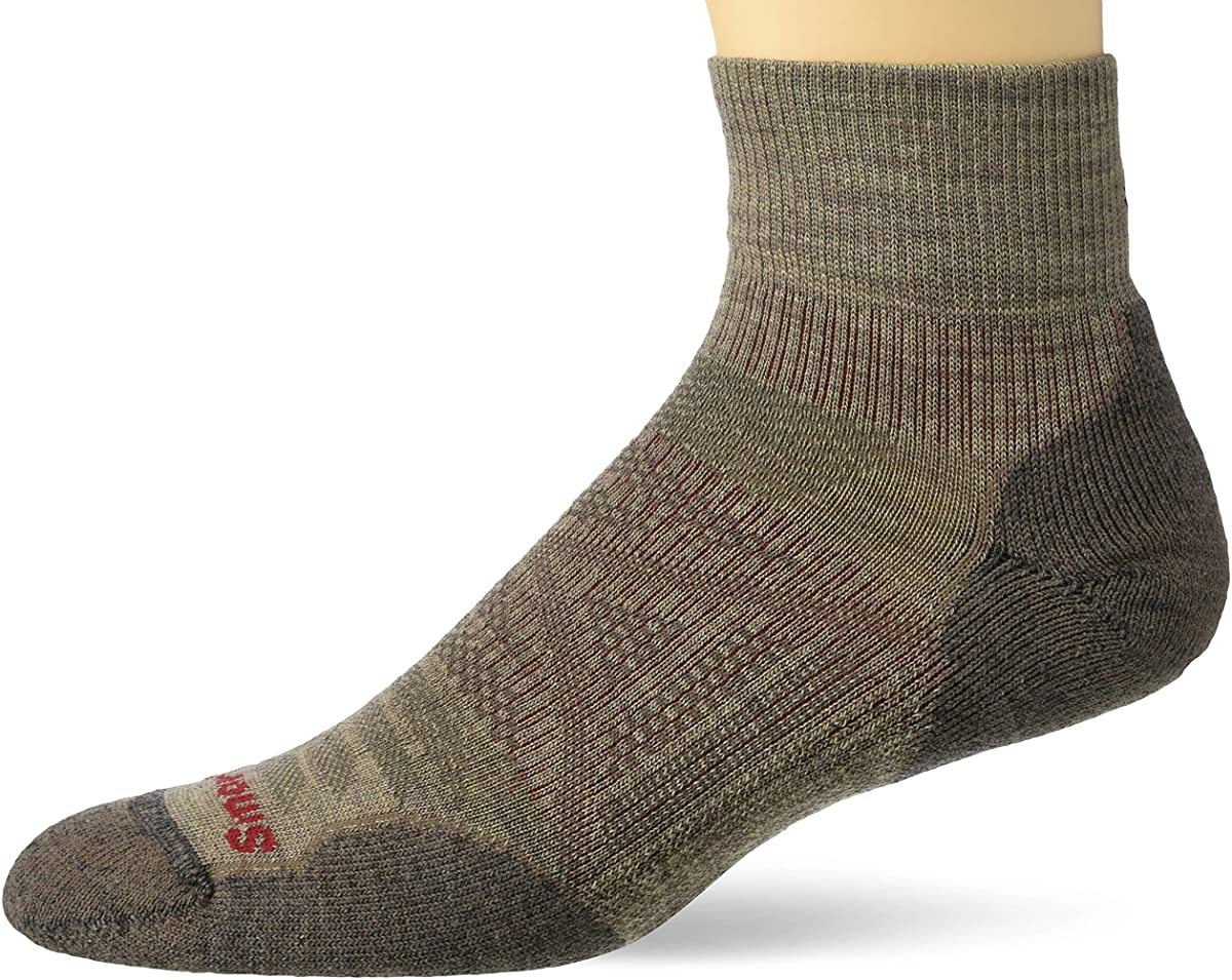 Unisex Smartwool PhD Outdoor Light Mini Hiking Socks in Fossil color from the side view