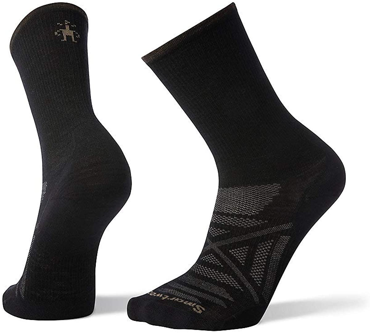 Unisex Smartwool PhD Outdoor Ultra Light Crew Hiking Socks in Black from the front