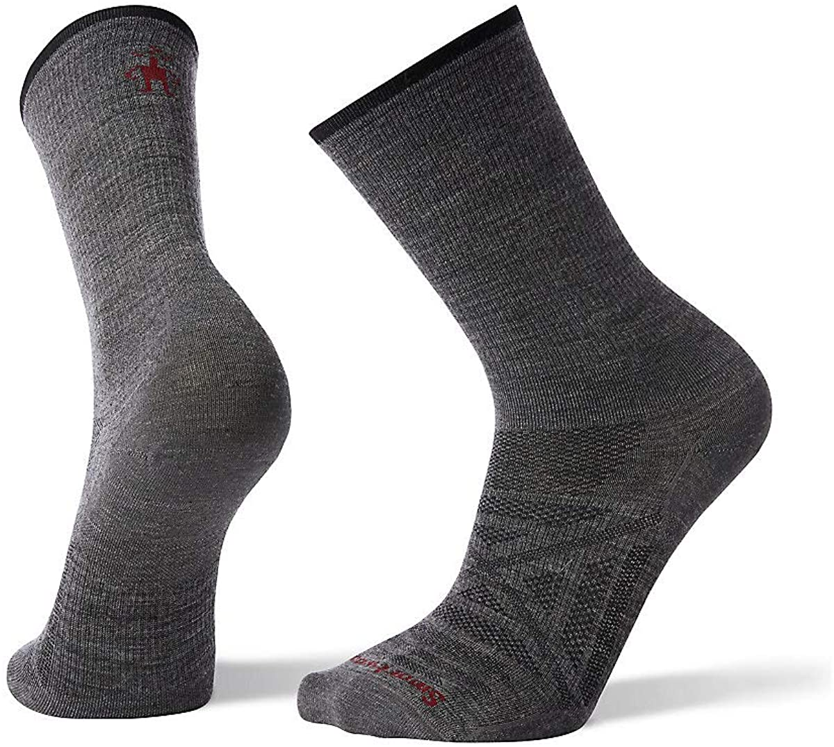 Unisex Smartwool PhD Outdoor Ultra Light Crew Hiking Socks in Medium Gray from the front