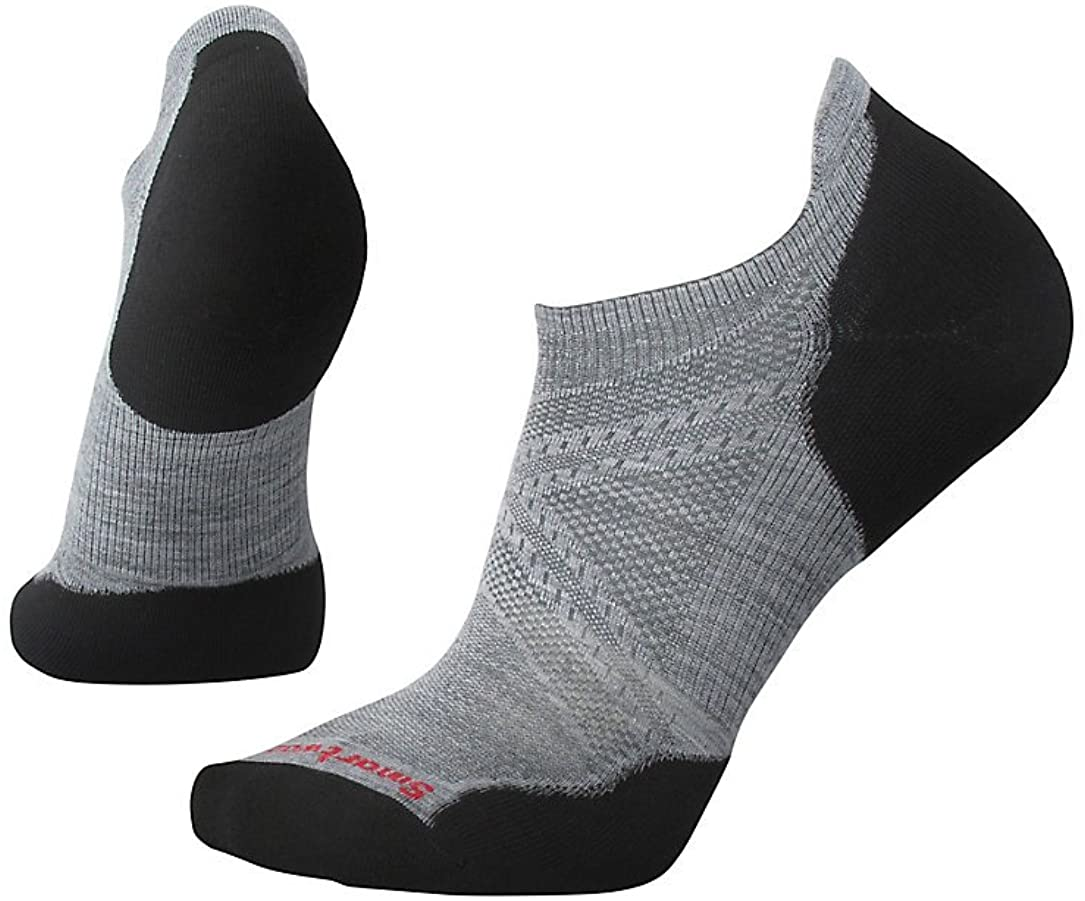 Unisex Smartwool PhD Run Light Elite Micro Sock in Light Gray-Black from the side