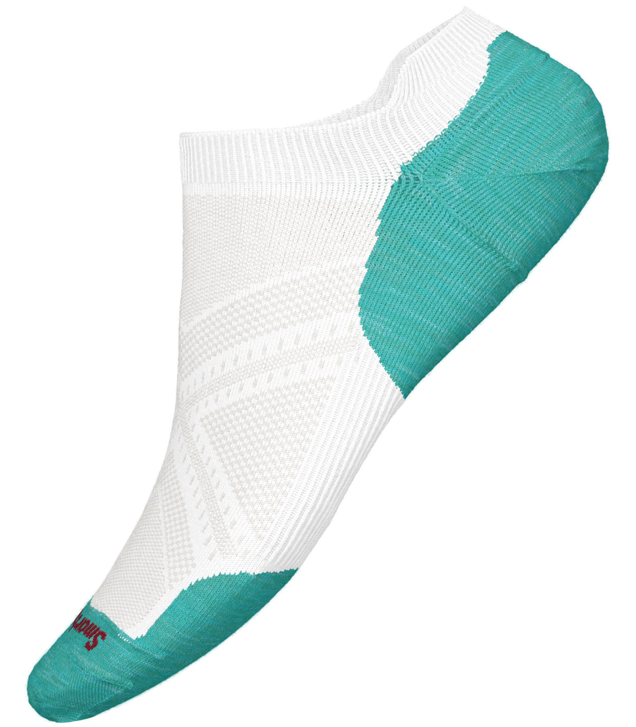 Unisex Smartwool PhD Run Light Elite Micro Sock in White-Capri from the side view