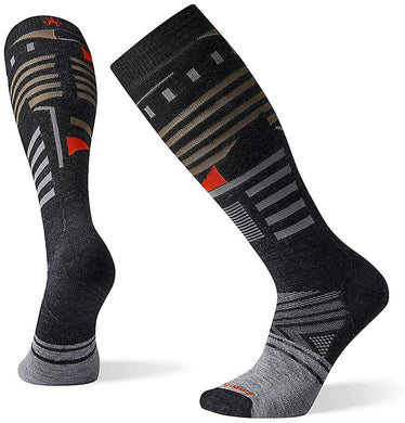 Unisex Smartwool PhD Ski Medium Pattern Socks in Charcoal from the front view