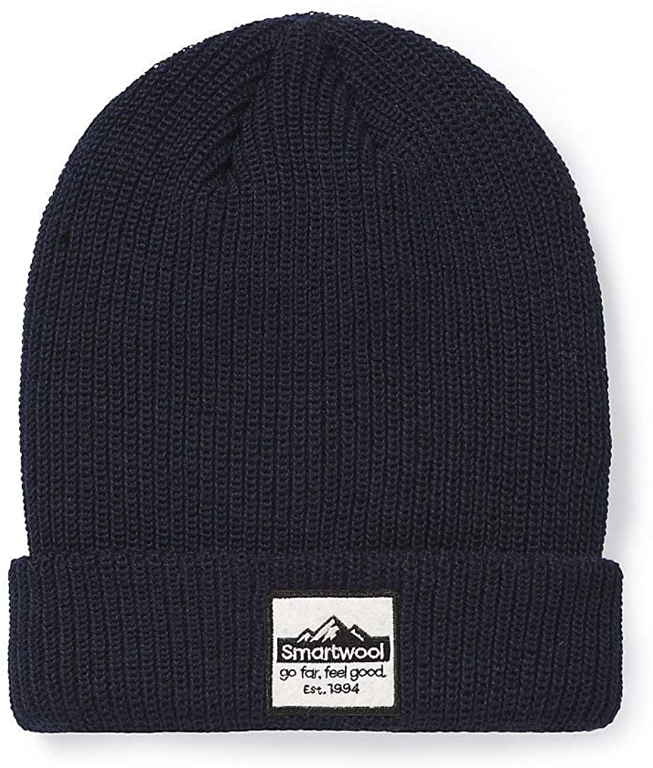 Unisex Smartwool Logo Beanie in Deep Navy from the front view