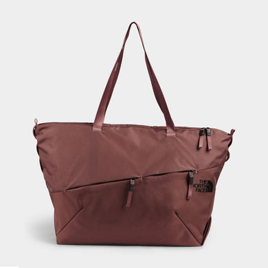 Unisex The North Face Electra Large Tote Bag in Marron Purple/TNF Black from the front view