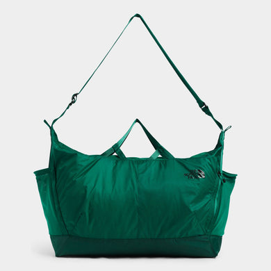 Unisex The North Face Flyweight Duffel Bag in Evergreen from the front view