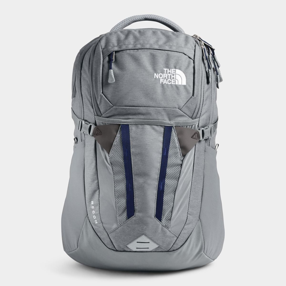 Unisex The North Face Recon Backpack in High Rise Grey Light Heather/TNF Navy from the front view