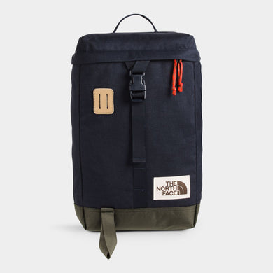 Unisex The North Face Top Loader Backpack in Aviator Navy Light Heather/New Taupe Green from the front view