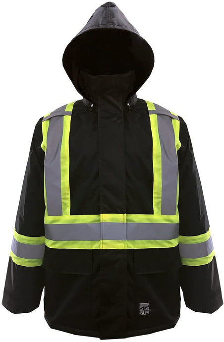 Men's Viking Open Road Hi-Vis CLass1 150D Rain Jacket in Black color from the front