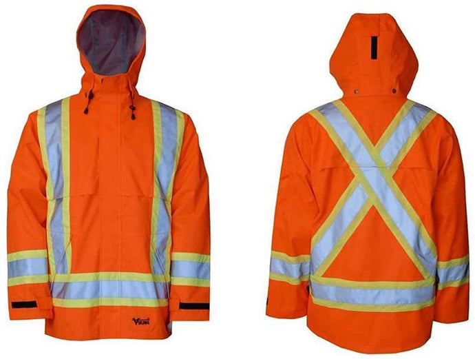 Men's Viking Professional Journeyman 300D CSA Safety Jacket in Hi-Vis Orange color from the front