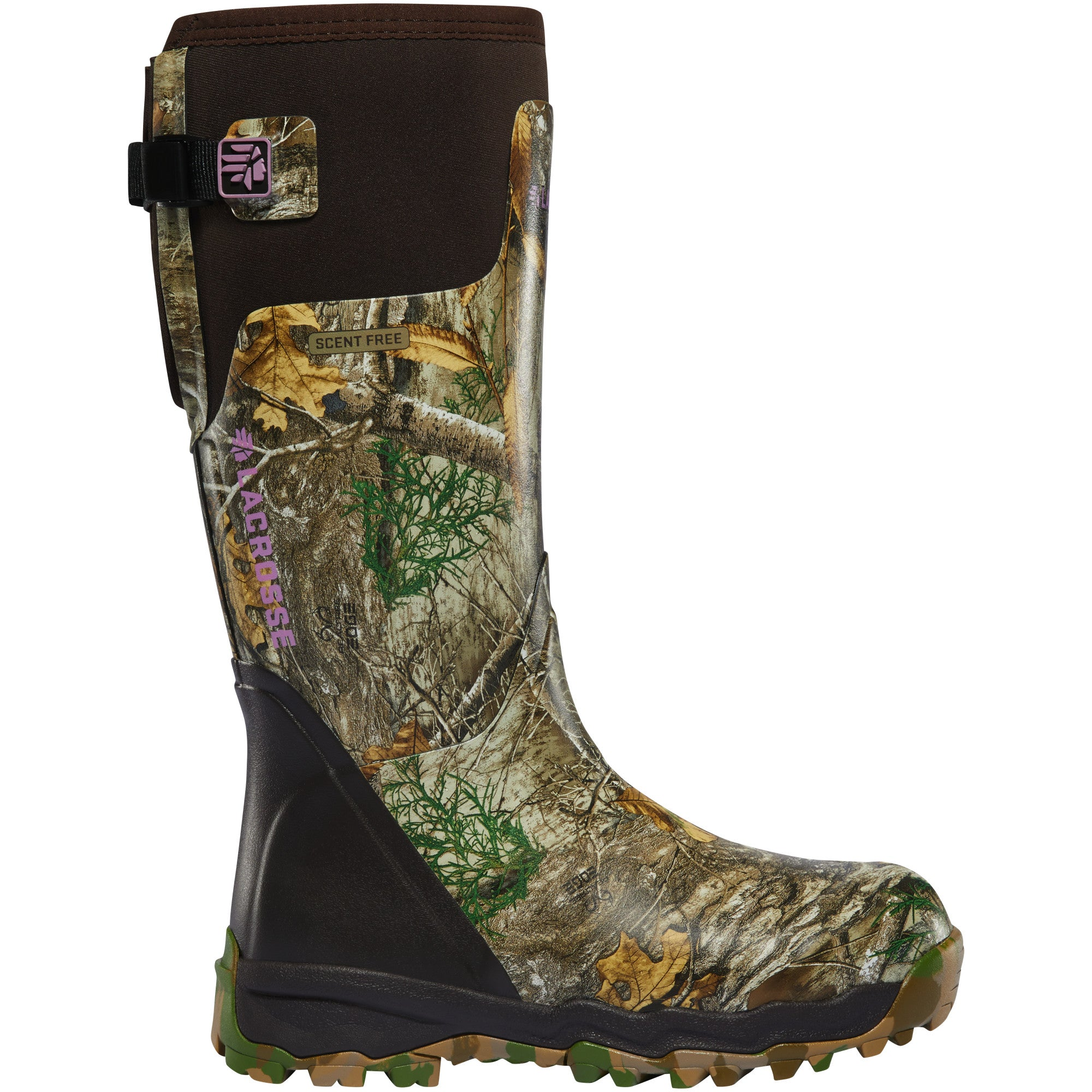 "LaCrosse Women's Alphaburly Pro 15"" Waterproof Hunting Boot in Realtree Edge from the side"