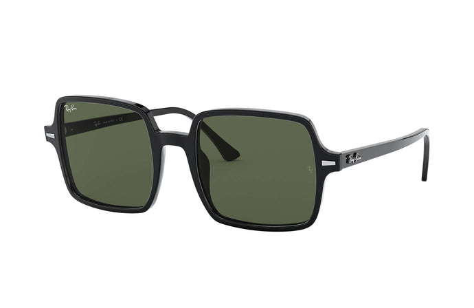 Women's Square II Sunglasses in Black/G-15 Green from the front view