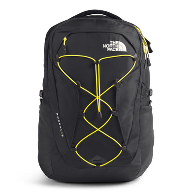 Women's The North Face Borealis Backpack in Asphalt Grey/TNF Lemon from the front view