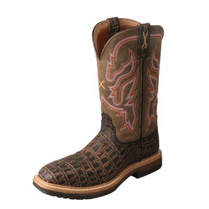 "Women's Twisted X 11"" Composite Toe Lite Western Work Boot in Black Caiman Print/Bomber from the front"
