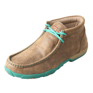 Women's Twisted X Chukka Driving Moccasins Shoe in Bomber & Turquoise from the front