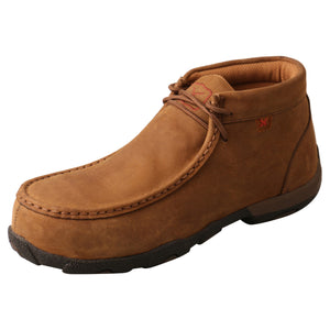 Women's Twisted X Work Steel Toe Chukka Driving Moccasins Shoe in Distressed Saddle from the front
