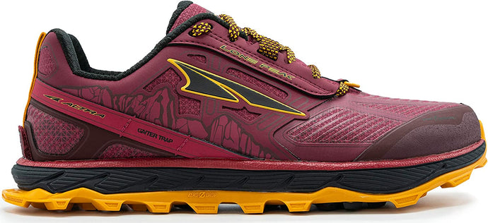 Altra Women's Lone Peak 4 Low RSM Trail Running Shoe in Beet Red from the side