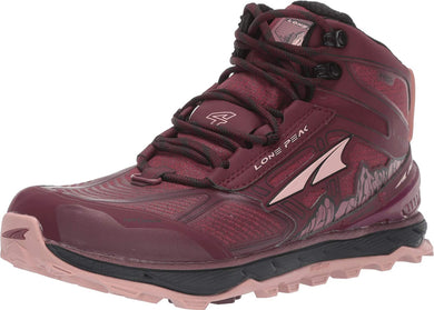 Altra Women's Lone Peak 4 Mid RSM Trail Running Shoe in Dark Port/Light Rose from the side