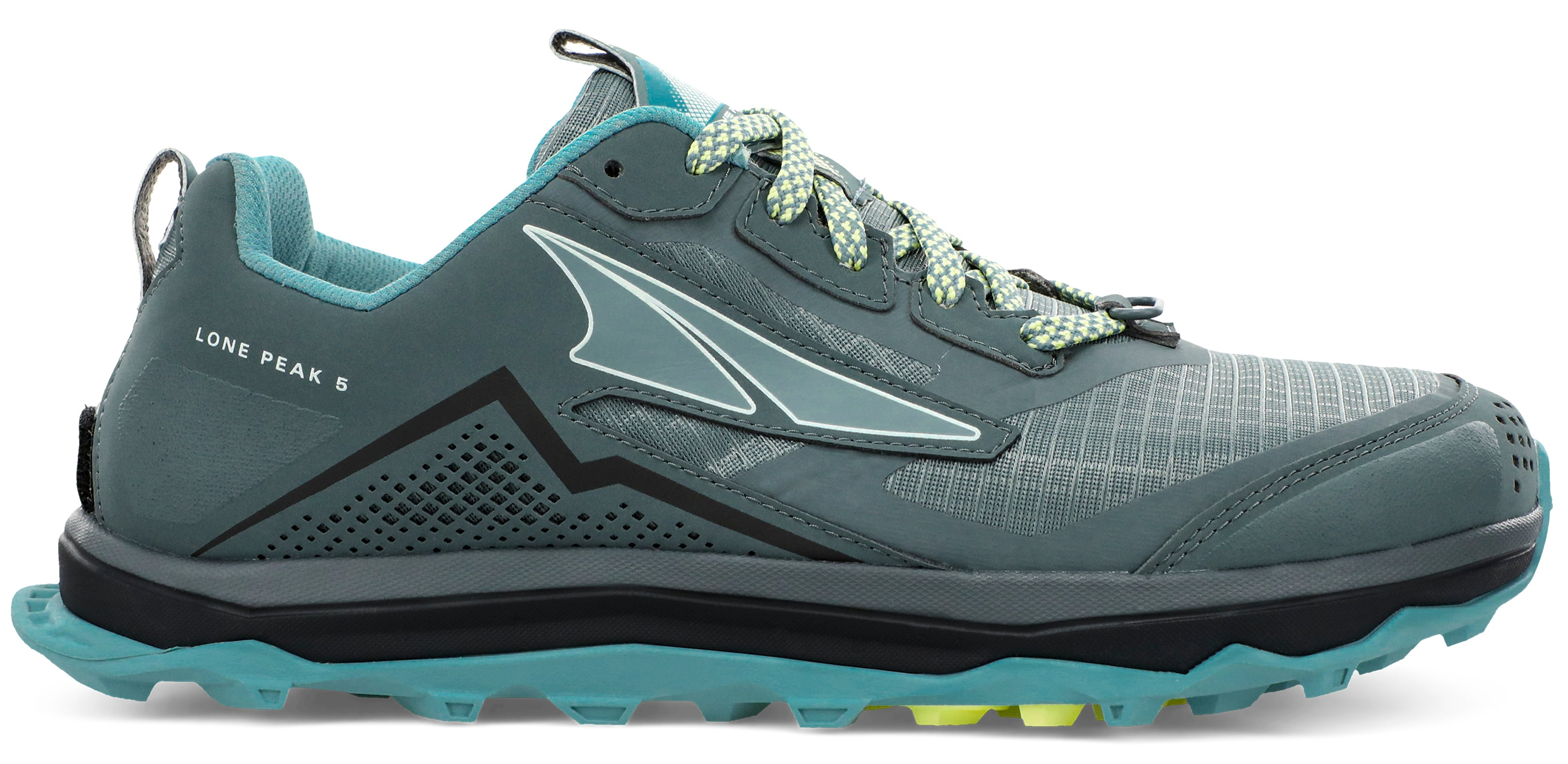Altra Women's Lone Peak 5 Trail Running Shoe in Balsam Green from the side
