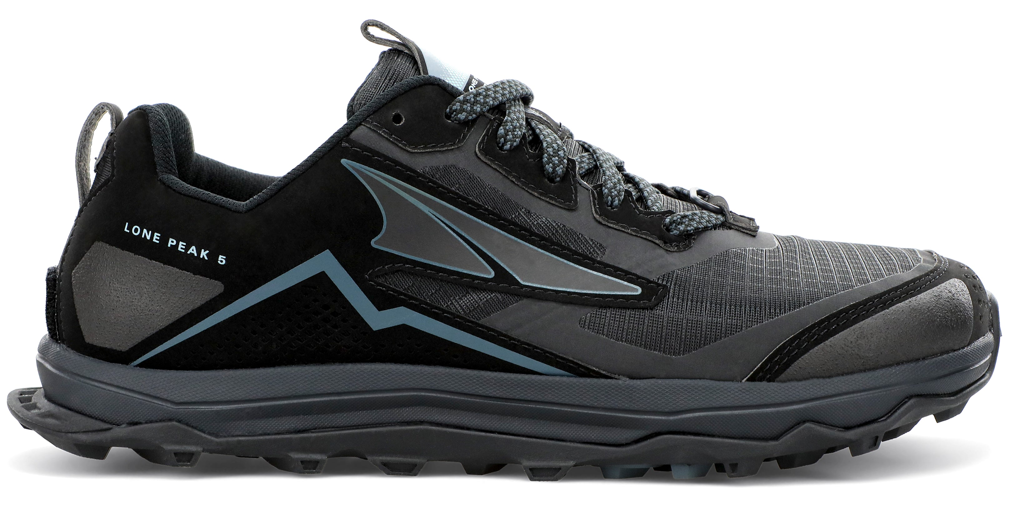 Altra Women's Lone Peak 5 Trail Running Shoe in Black from the side