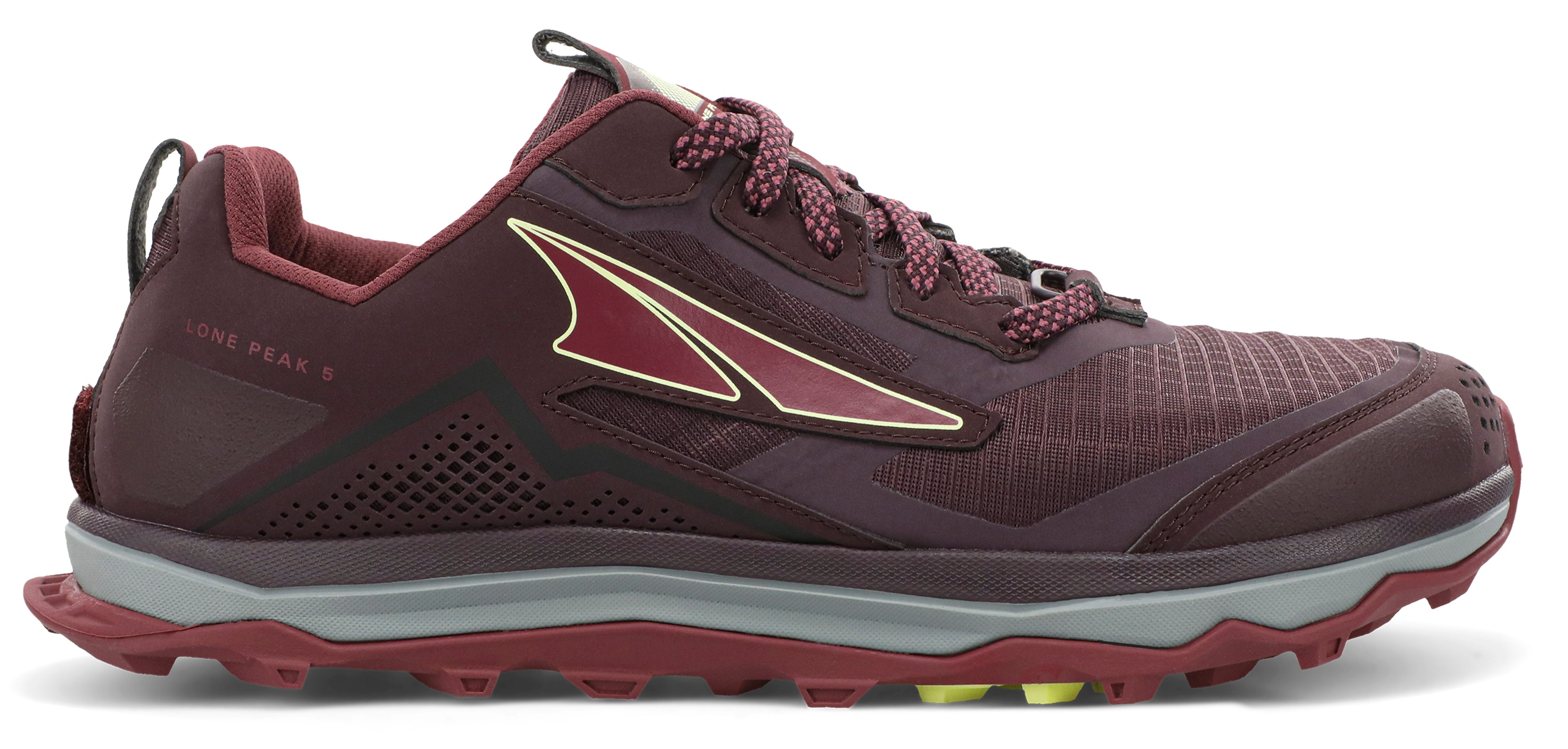 Altra Women's Lone Peak 5 Trail Running Shoe in Dark Port/Light Rose from the side