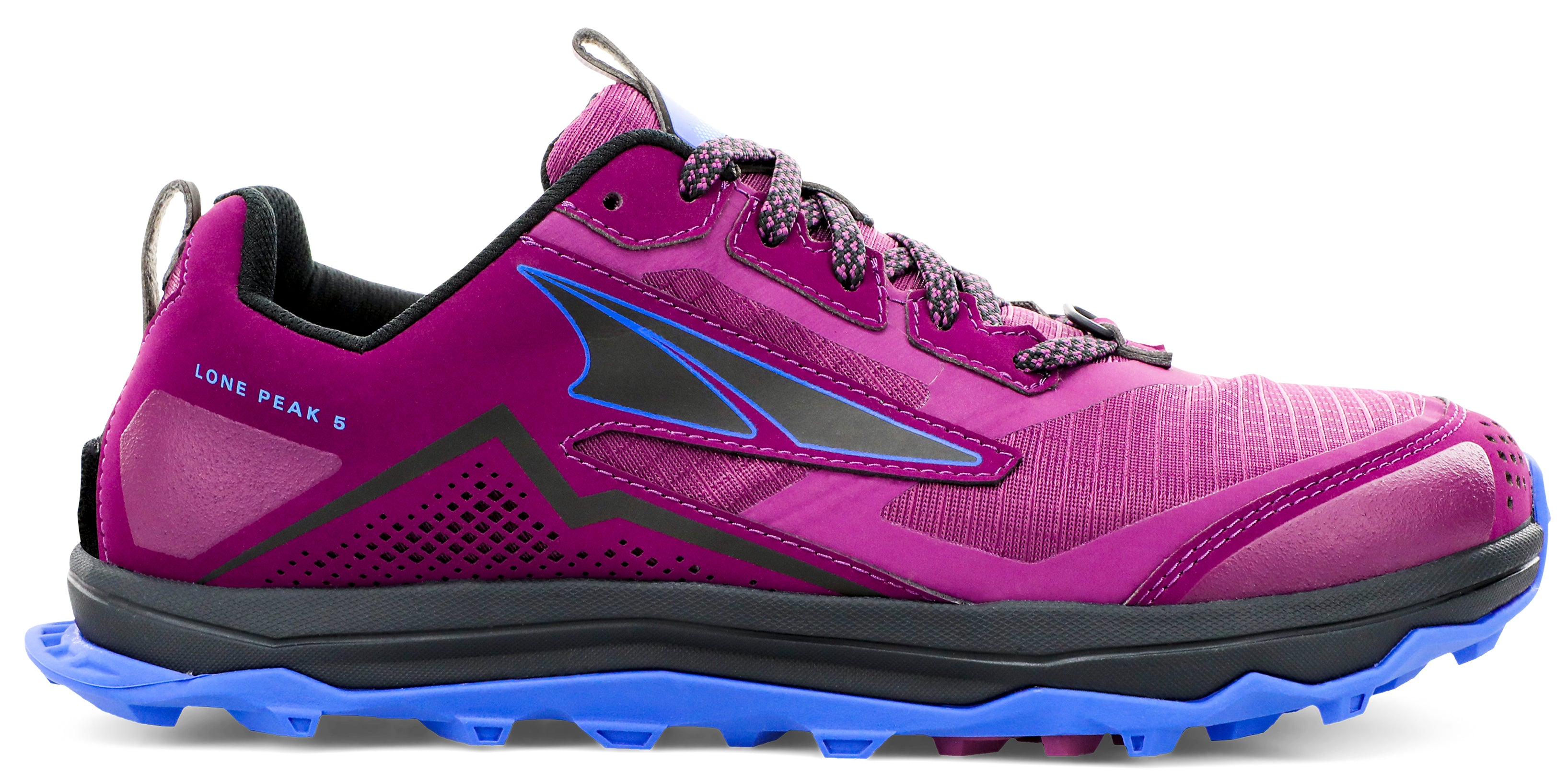 Altra Women's Lone Peak 5 Trail Running Shoe in Plum from the side