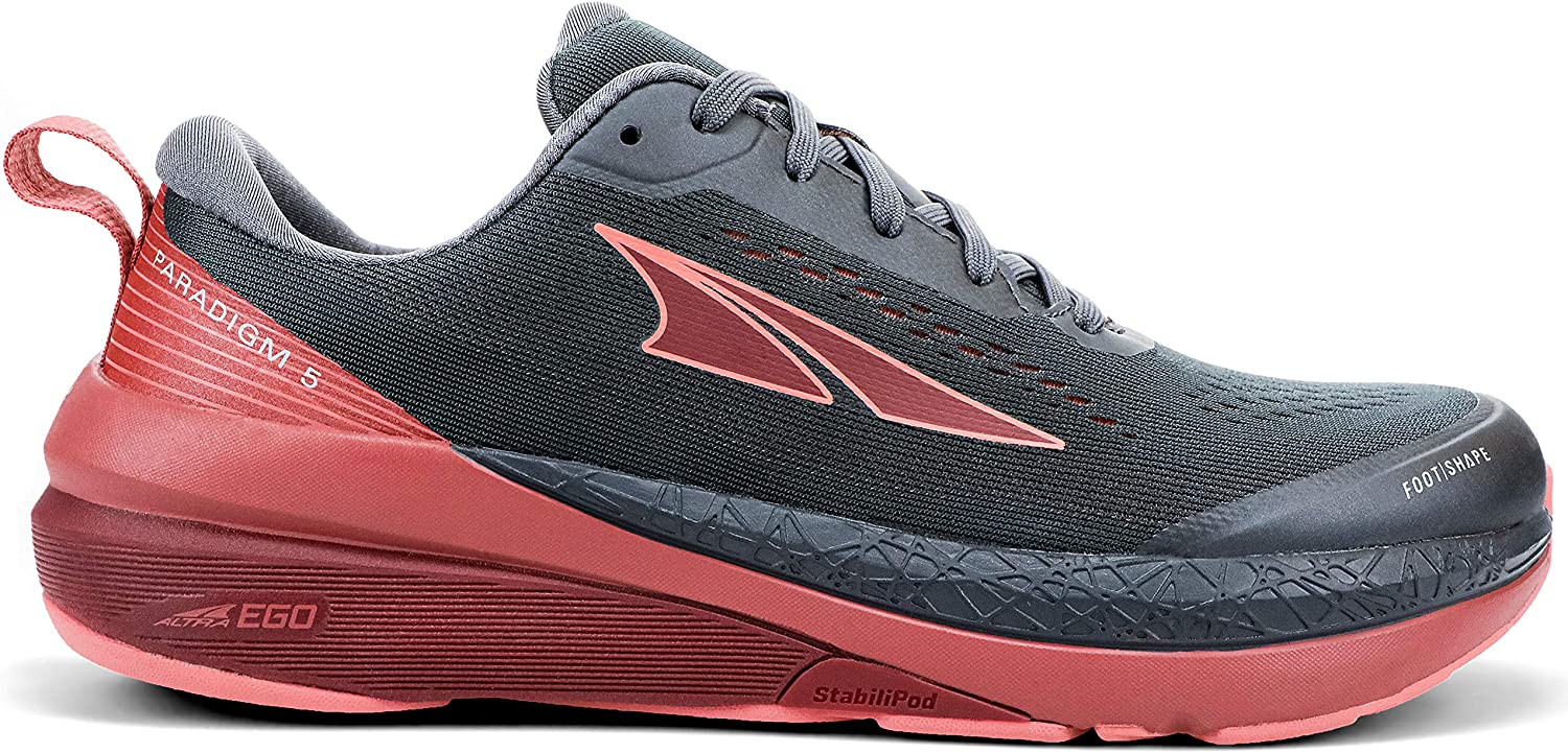 Altra Women's Paradigm 5 Road Running Shoe in Gray/Coral/Port from the side