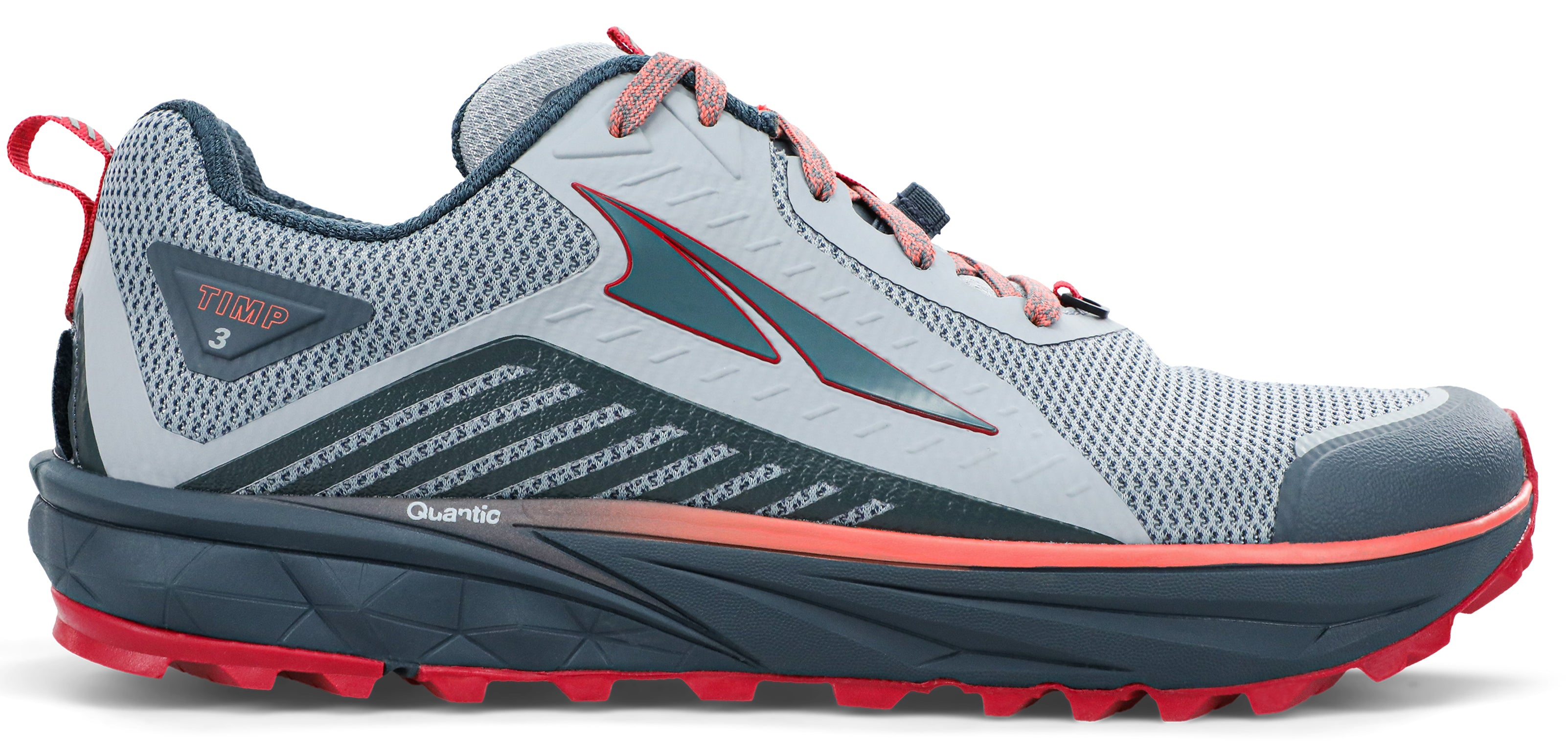 Women's Altra Timp 3 Trail Running Shoe in Gray/Pink from the side