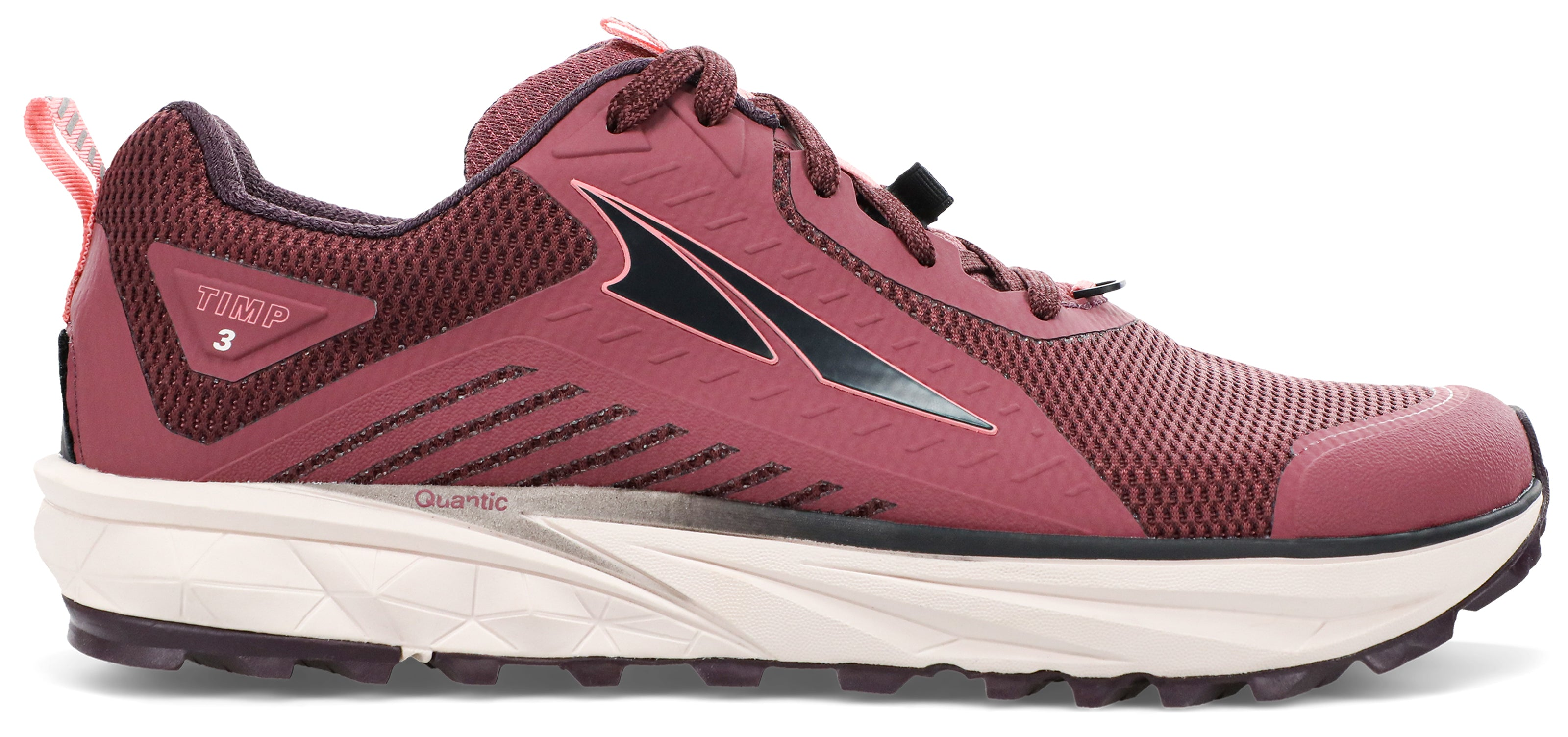 Women's Altra Timp 3 Trail Running Shoe in Plum/Coral from the side
